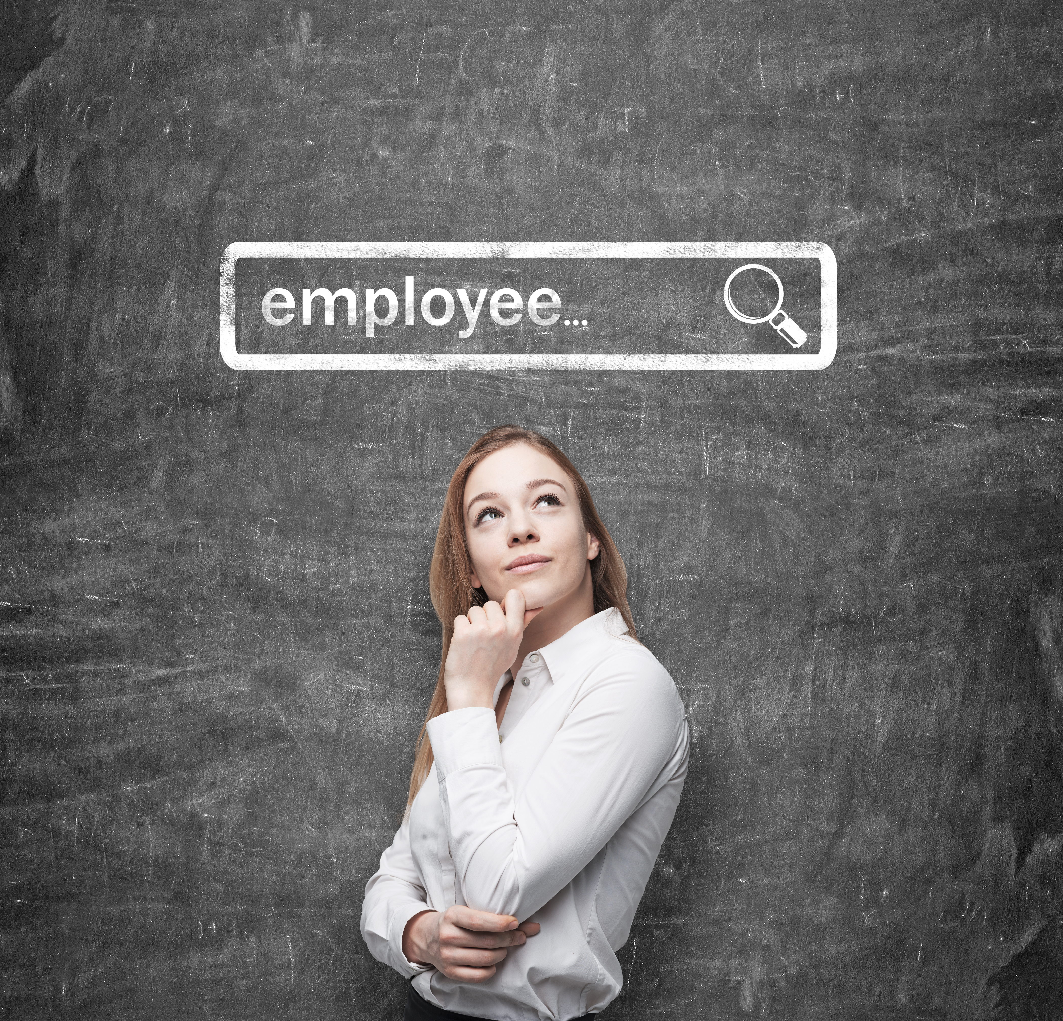 woman conducting a search for an employee