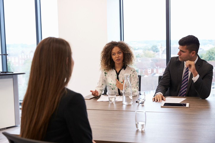 female candidate being interview for a position