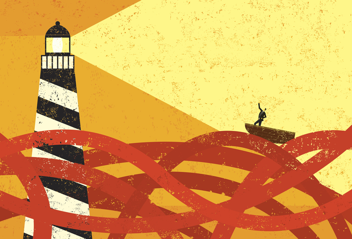 drawing of boat on red sea being guided by a lighthouse