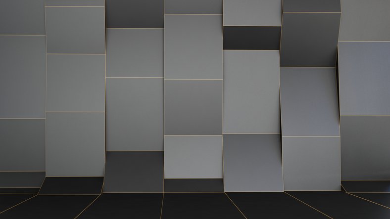 abstract interior background made of gray blocks
