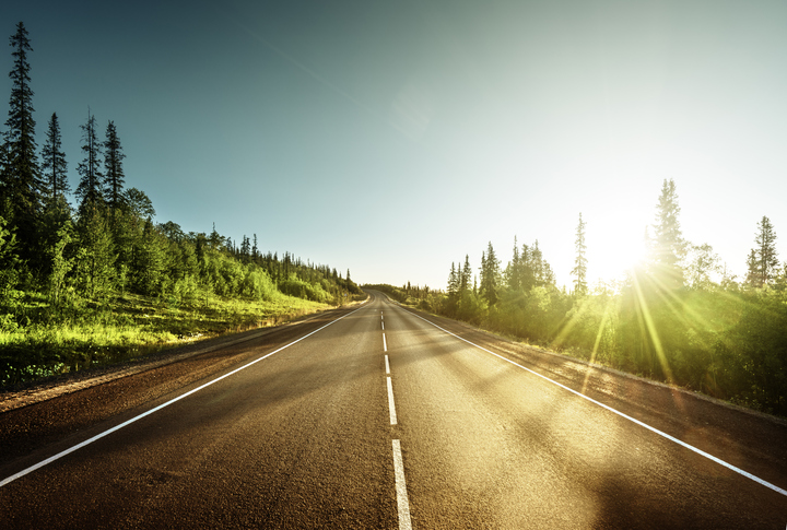 sun rise on an open road