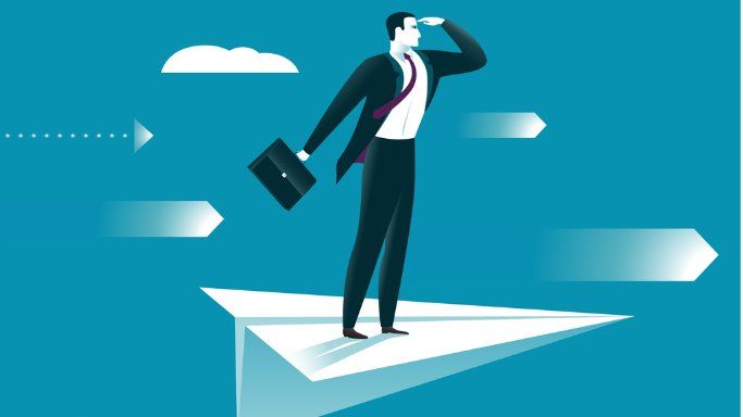 illustration of businessman scanning horizon on the wing of paper airplane