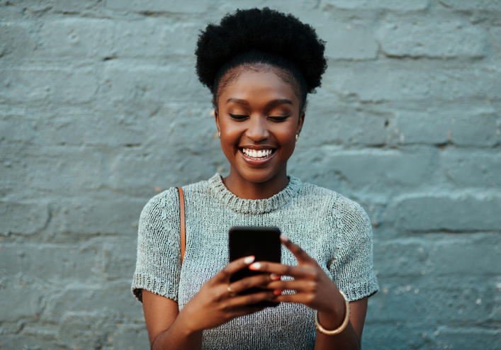 woman networking on mobile phone