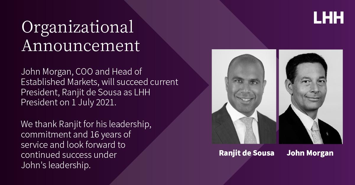 Organizational Announcement Ranjit de Sousa John Morgan