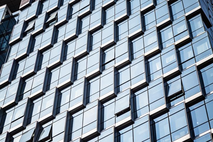 exterior of modern glass skyscraper