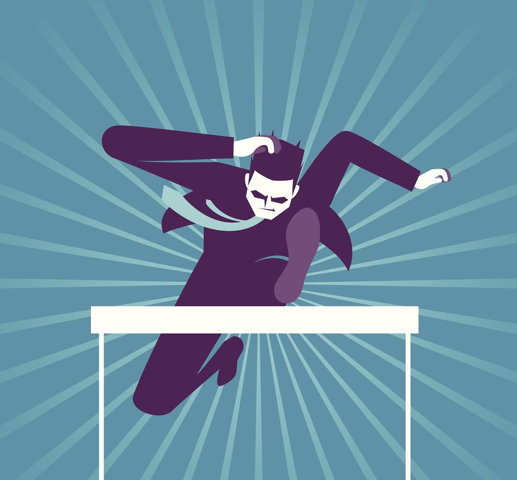businessman jumping hurdle illustration