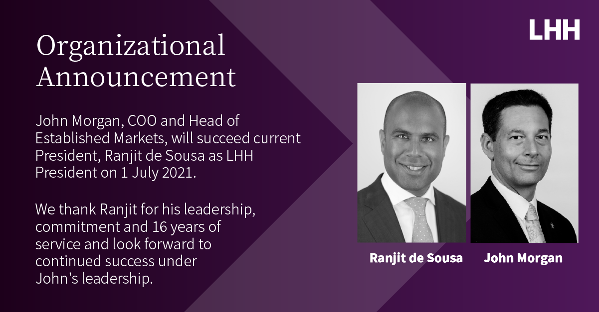 Organizational Announcement Ranjit de Sousa John Morgan